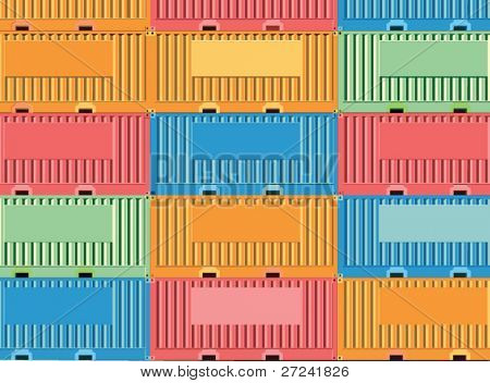 Stacked freight containers with space for company logos.