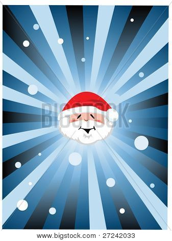 Santa head with snow ray background
