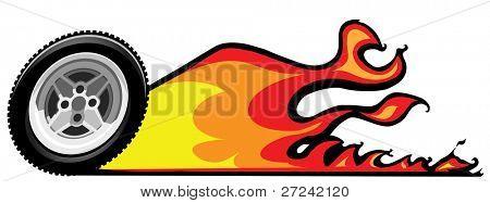 Auto-klassischen Stil flammende Reifen und Felgen