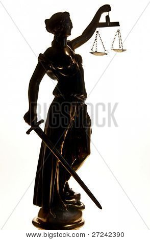 Statue of justice. Silhouette