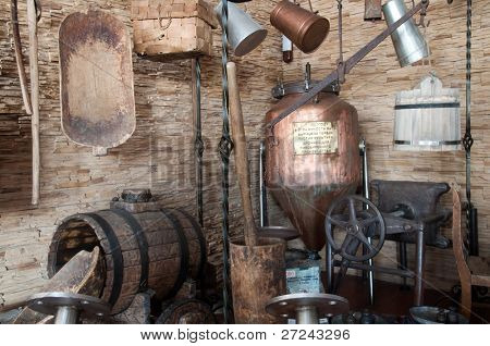 Old brewery. A copper tub, beer flank and other equipment which is used for brewing