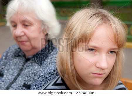 The grandmother and the grand daughter: quarrel