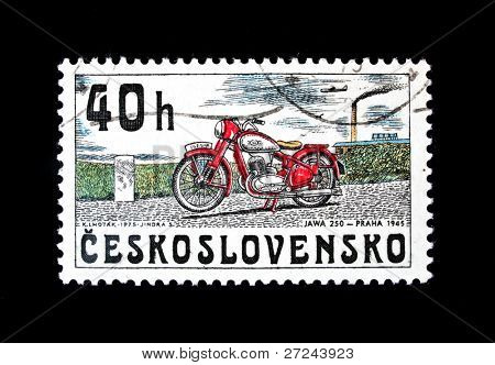 CZECHOSLOVAKIA - CIRCA 1975: A stamp printed in Czechoslovakia shows vintage Motorcycle JAWA 250 year 1945, circa 1975.