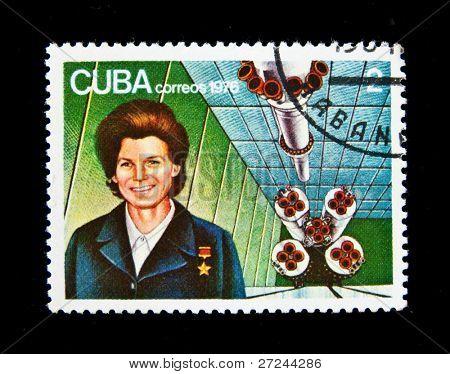 CUBA - CIRCA 1976: A stamp printed in Cuba shows Soviet cosmonaut Valentina Tereshkova, circa 1976 Series
