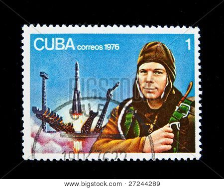 CUBA - CIRCA 1976: A stamp printed in Cuba shows Soviet cosmonaut Yury Gagarin, circa 1976 Series