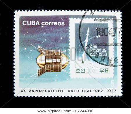CUBA - CIRCA 1977: Series of stamps printed in Cuba shows philatelia items honoring First soviet sputnic, on this stamp shows stamp from Korean People's Republic, circa 1977.