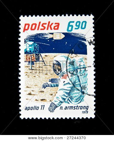 POLAND - CIRCA 1979:  A stamp printed in Poland shows N. Armstrong, circa 1979 Series