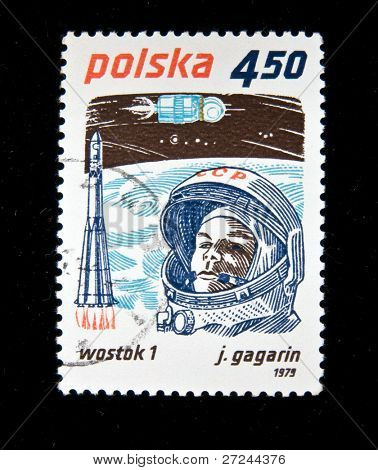 POLAND - CIRCA 1979:  A stamp printed in Poland shows first-ever cosmonaut Jury Gagarin, circa 1979 Series