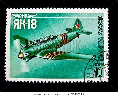 USSR -CIRCA 1986: A stamp shows image of YAK-18 aeroplane, circa 1986.