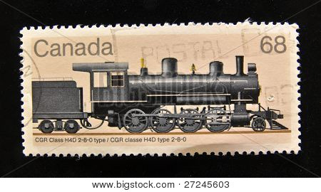 CANADA - CIRCA 1988: A Stamp printed in the  CANADA shows Old locomotive CGR Class H4D, circa 1988.