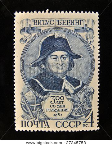 USSR - CIRCA 1981: A Stamp printed in the USSR shows portrait of the great Russian explorer Vitus Bering, circa 1981.
