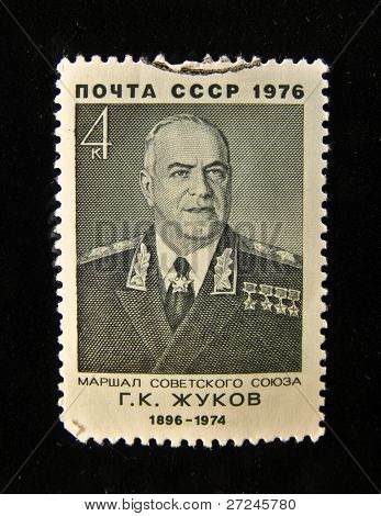 USSR - CIRCA 1976: A Stamp printed in the USSR shows portrait of the Marshal Georgy Zhukov, circa 1976.