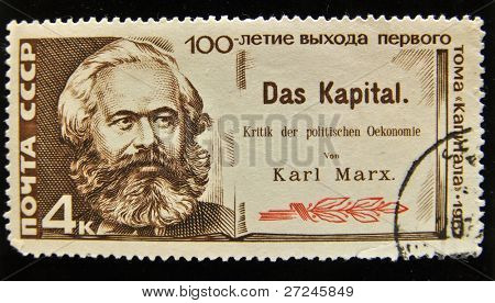 USSR - CIRCA 1980s: A Stamp printed in the USSR shows portrait of the great Russian materialist philosopher Karl Marx, circa 1980s.