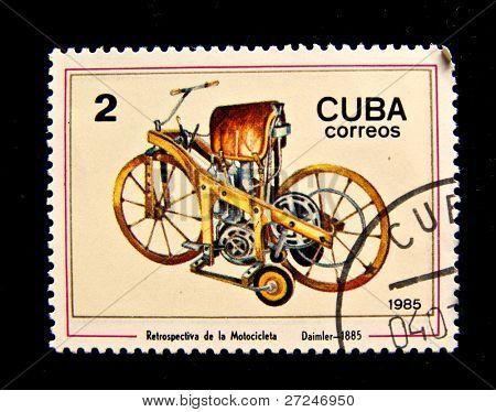 CUBA - CIRCA 1985: A stamp printed in Cuba shows the Daimler motorcycle, produced 1885. Circa 1985