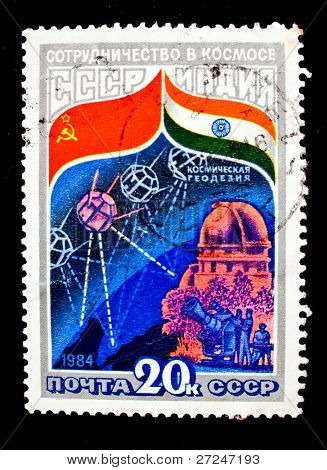USSR - CIRCA 1984: A stamp printed in the USSR devoted to the Intercosmos program, circa 1984. Big space series