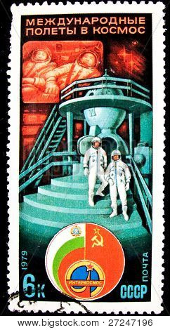 USSR - CIRCA 1979: A stamp printed in the USSR devoted to the Intercosmos program, circa 1979. Big space series
