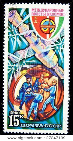 USSR - CIRCA 1980: A stamp printed in the USSR devoted to the Intercosmos program, circa 1980. Big space series