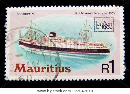 MAURITIUS - CIRCA 1980: A stamp printed in MAURITIUS fishing boat 1930 shows passenger aircraft Convair CV 340, circa 1980.