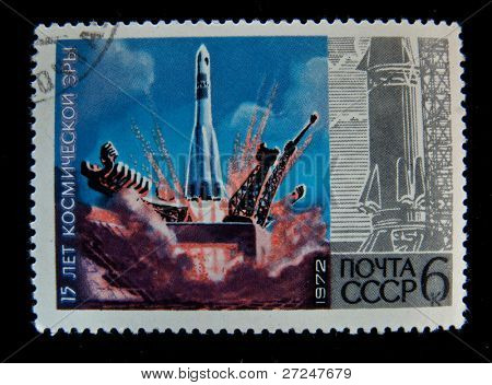 USSR - CIRCA 1972: A stamp printed in the USSR shows launch a space ship
