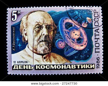 USSR - CIRCA 1986: A stamp printed in the USSR shows academic theorist of space travel Konstantin Tsiolkovsky, circa 1986. Large space series