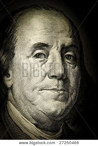 Benjamin Franklin. Detail of the U.S. dollar
