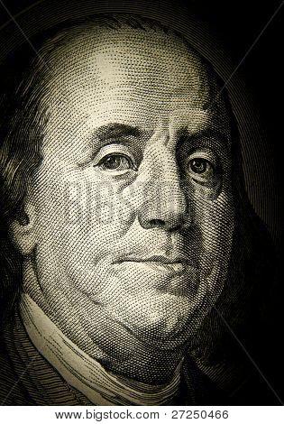 Benjamin Franklin. Detail of the U.S. dollar