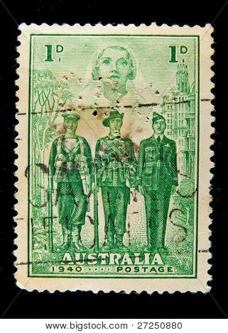 AUSTRALIA - CIRCA 1940: A stamp printed in Australia shows Australian Army soldiersg, circa 1940