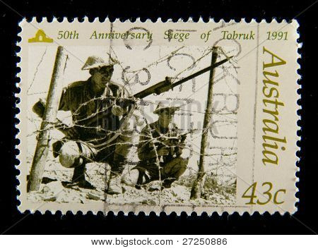 AUSTRALIA - CIRCA 1990-th: Australian postage stamp depicting 50-th anniversary siege of Tobruk, circa 1990-th