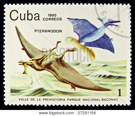 Cuba - por volta de 1985: Um selo imprimido em Cuba mostra Pterodátilo, por volta de 1985