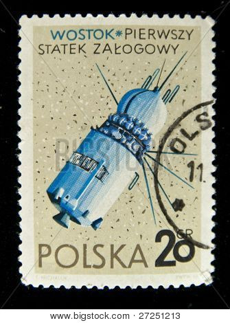 POLAND - CIRCA 1967: A stamp printed in Poland showing Vostok - Russian space station, circa 1967