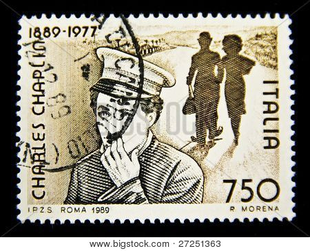 ITALIA - CIRCA 1989: Stamp printed in Italia with Charles Spenser Chaplin , circa 1989