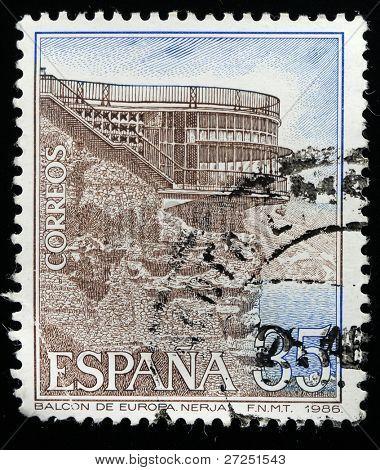 SPAIN - CIRCA 1986: a stamp printed by Spain shows Balcon de Europa Nerja , circa 1986, Spain
