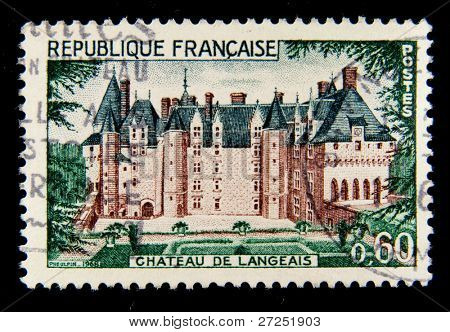 FRANCE - CIRCA 1961: a stamp printed in France shows image of Chateau de Langeais castle. France, circa 1961