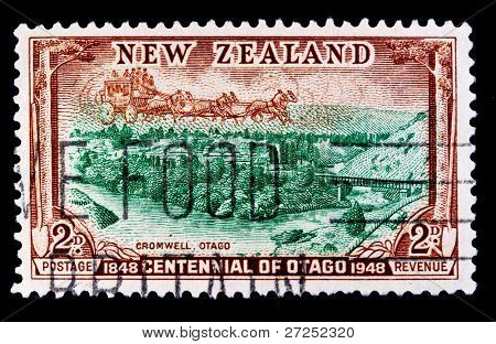 NEW ZEALAND - CIRCA 1950s: A stamp in New Zealand shows region Otago University, circa 1950s