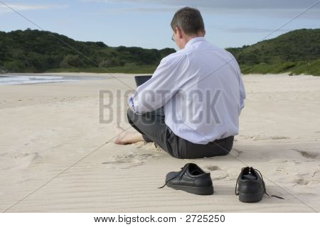 Businessman With Laptop On The Beach