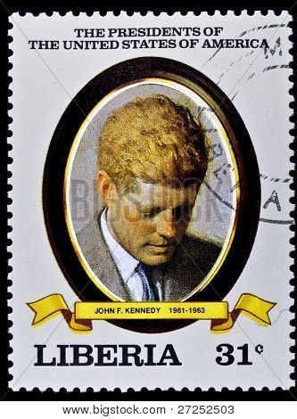 LIBERIA - CIRCA 2000s: A stamp printed in Liberia shows President John F. Kennedy, circa 2000s.