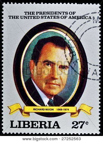 "LIBERIA - CIRCA 2000s: A stamp printed in Liberia shows President Richard Nixon, circa 2000s. ""All USA Presidents"" series."