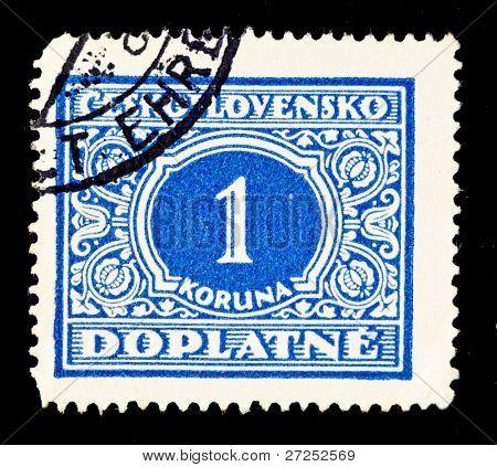 CZECHOSLOVAKIA - YEAR UNKNOWN: A stamp shows value of 1 koruna, year unknown.