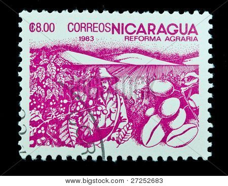 NICARAGUA - CIRCA 1983: A stamp printed in Nicaragua dedicated to agrarian reform circa 1983
