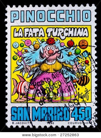 San Marino - CIRCA 1990: A postage stamp printed in San Marino showing the Pinocchio cartoon, circa 1990