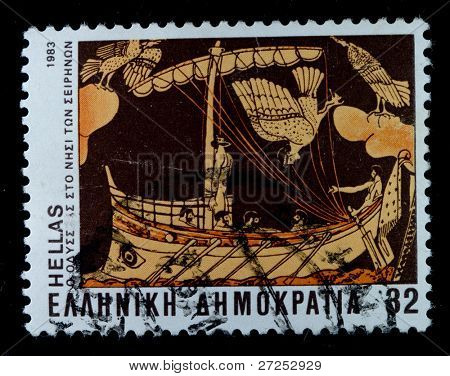 GREECE - CIRCA 1983: A post stamp printed in Greece devoted Homer's Epic Poems, circa 1983
