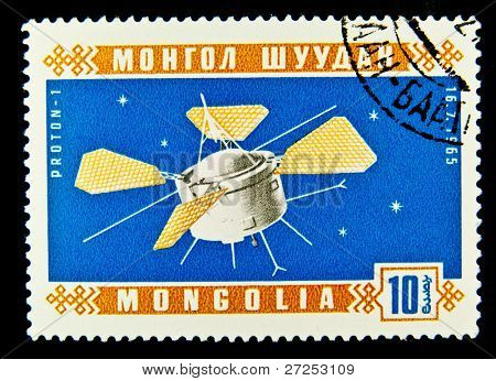 MONGOLIA - CIRCA 1965: A stamp printed in Mongolia shows the Soviet spaceship Proton-1, circa 1965. Space Series