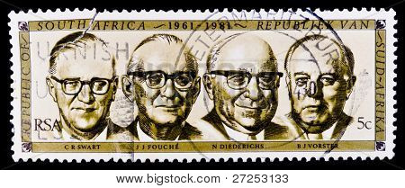 SOUTH AFRICA - CIRCA 1960s: A stamp printed in South Africa shows C.R Swart,  J.J. Fouche, N. Diederich, B.J. Vorster circa 1960s
