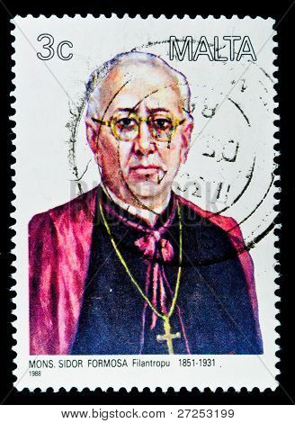 MALTA - CIRCA 1988: A stamp printed in Malta shows image of Sidor Formosa, Maltese humanist and philosopher, circa 1988