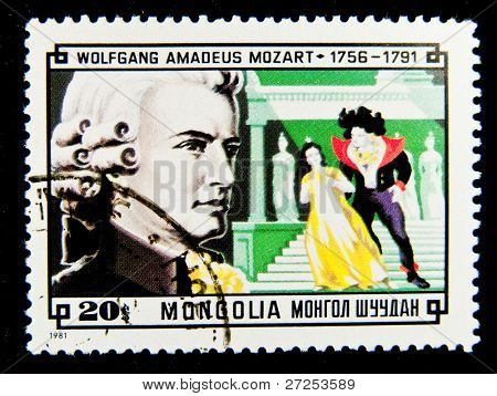 MONGOLIA - CIRCA 1981: A stamp printed in Mongolia shows image of the famous composer Wolfgang Amadeus Mozart, circa 1981