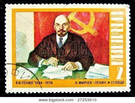 BULGARIA -CIRCA 1974:A Stamp printed by Bulgaria Vladimir Ilyich Lenin was a Russian revolutionary, Bolshevik leader, communist politician, circa 1974
