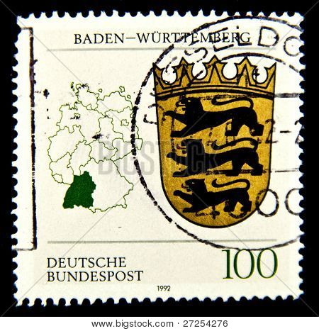 GERMANY - CIRCA 1992: A stamp printed by Germany, shows Coats of Arms of states Baden, Bavaria, circa 1992.