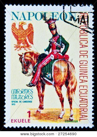 EQUATORIAL GUINEA - CIRCA 1974: A stamp printed in Equatorial Guinea shows soldiers of the Imperial Guard of Napoleon in uniform, circa 1974. Series