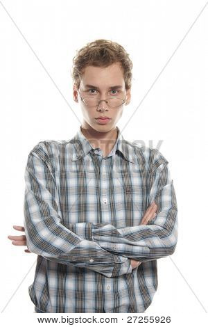 young serious man over white
