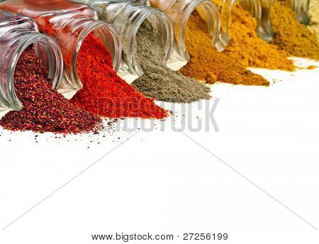 border of  colorful powder spices in glass bottle  isolated